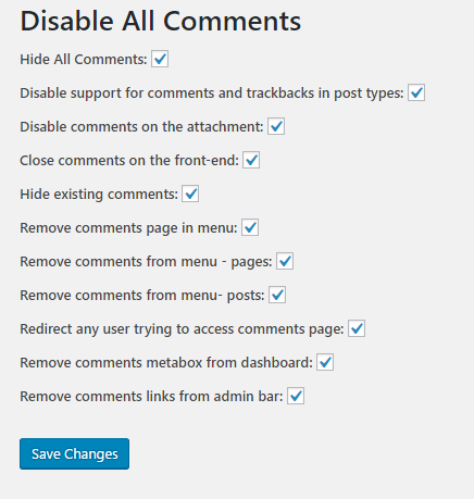 Disable All Comments WP Plugin