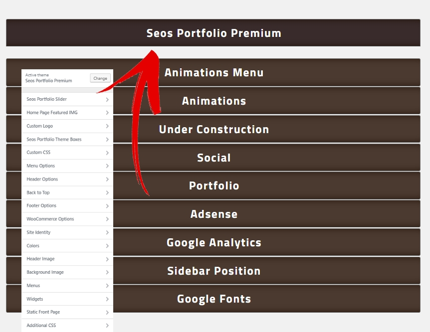 seos portfolio theme options
