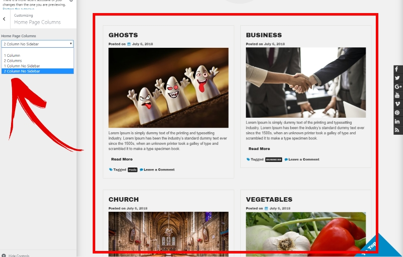 Home Page Columns